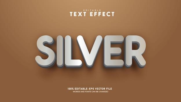 Silver editable 3d text effect template premium vector