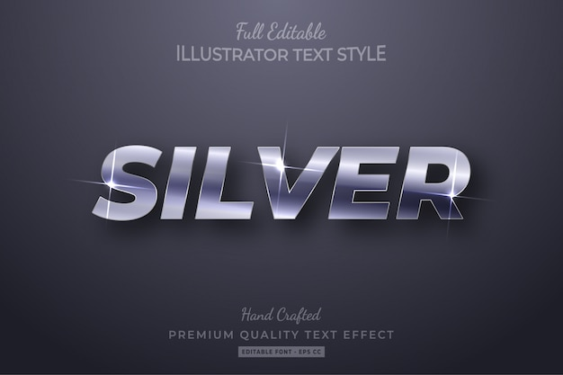 Silver editable 3d text style effect