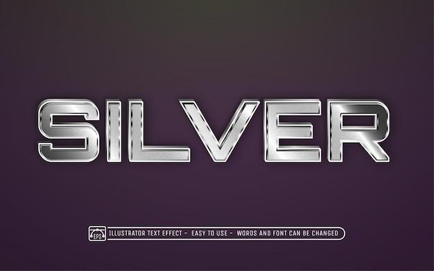 シルバーの編集可能なテキスト効果フォントスタイル