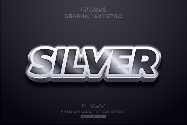 Silver editable text style effect premium