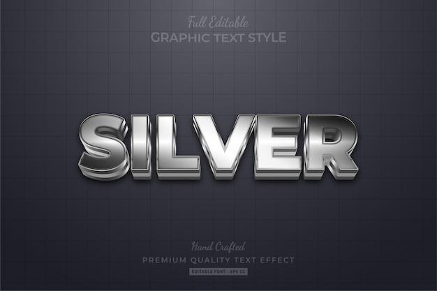 Silver editable text style effect Premium Vector