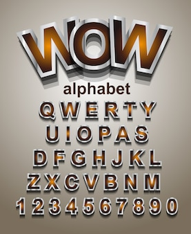 Silver effect alphabet font with letters and numbers