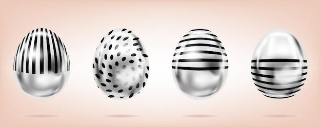 Серебряные яйца на розовом