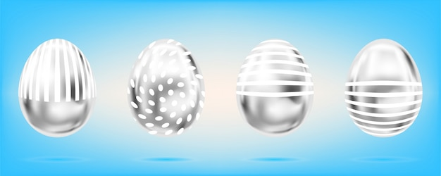 Silver eggs on the sky blue