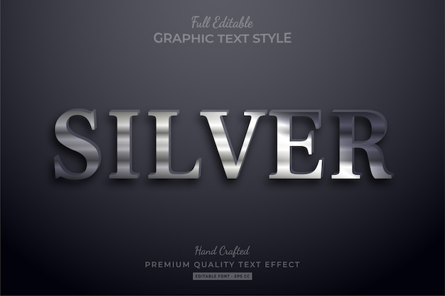 Silver elegant editable text effect font style