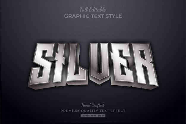 Silver elegant editable text effect