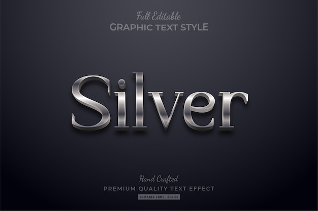 Silver elegant editable text style effect