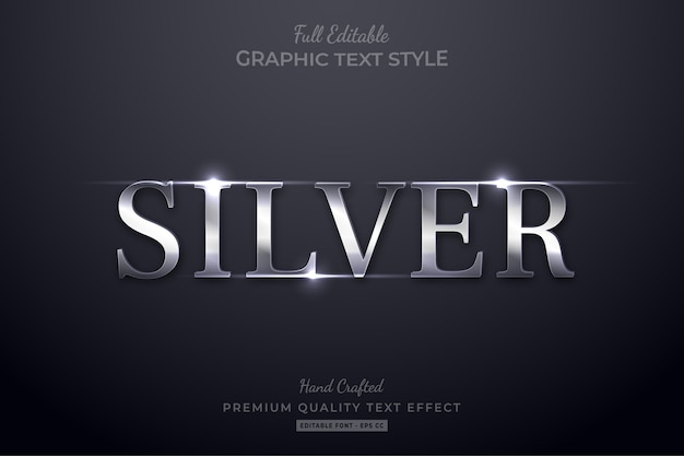 Silver elegant glow editable text effect font style