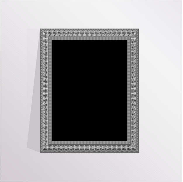 Silver elegant photo frame with gray background