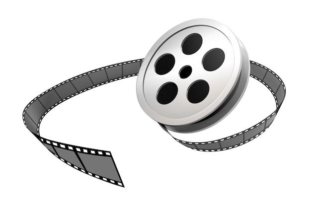 白い背景の上の銀のフィルムロールとストリップ