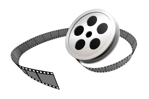 Silver film roll and strip  on white background
