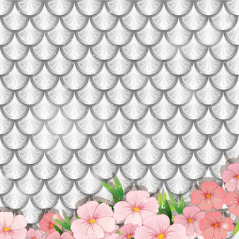Silver fish scales pattern with many flowers