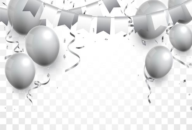 Серебряный флаг гирлянда, воздушные шары и конфетти