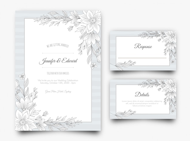 Silver floral wedding invitation