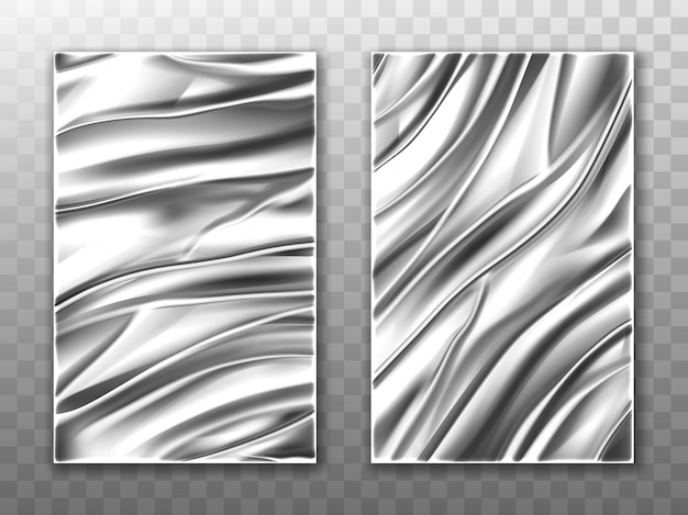 Silver foil crumpled metal texture background
