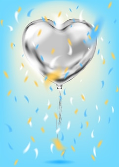 Silver foil heart shape balloon