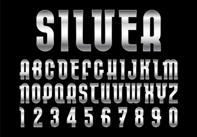 Silver font, alphabet with metallic texture.