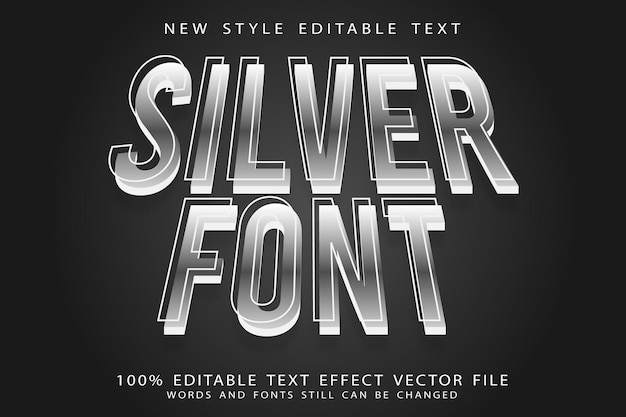 Silver font editable text effect emboss modern style