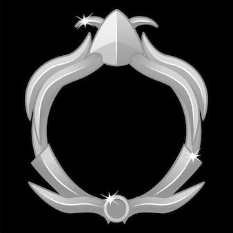 Серебряная игровая рамка-аватар, круглая рамка для игрового интерфейса. серебряный аватар с игровой рамкой, круглый шаблон для игрового интерфейса.