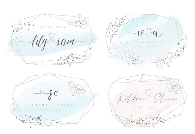 水彩のブラシストロークとキラキラとシルバーの幾何学的な結婚式のフレーム