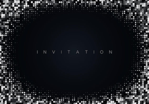 Silver glitter on black background festive shiny background vector eps10