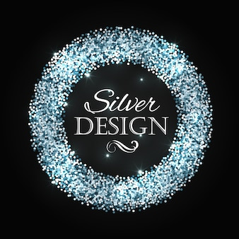 Silver glitter christmas frame with calligraphy elements.