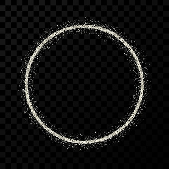 シルバーのキラキラフレーム。暗い透明な背景に光沢のある輝きのあるサークルフレーム。ベクトルイラスト
