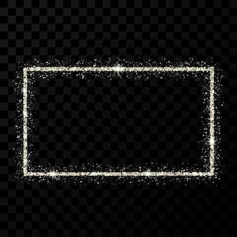 Silver glitter frame. rectangle vertical frame with shiny stars and sparkles on dark transparent background. vector illustration