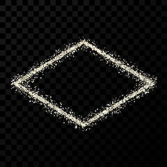 Silver glitter frame. rhombus frame with shiny sparkles on dark transparent background. vector illustration