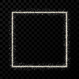 Silver glitter frame. square frame with shiny sparkles on dark transparent background. vector illustration