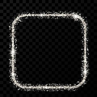 シルバーのキラキラフレーム。暗い透明な背景に光沢のある輝きのある丸い角のフレームのある正方形。ベクトルイラスト