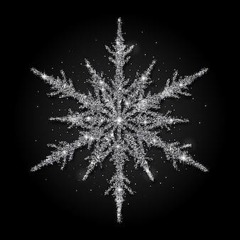 Silver glitter snowflake on black background