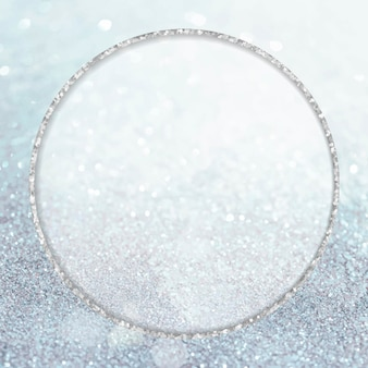 Silver glittery round frame
