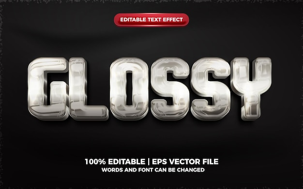 Silver glossy 3d editable text effect