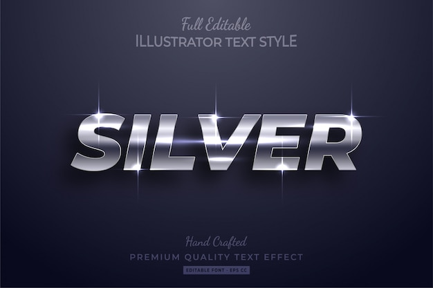 Silver glow editable 3d text effect