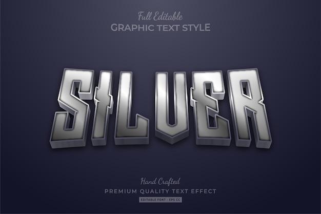 Silver glow editable premium text effect