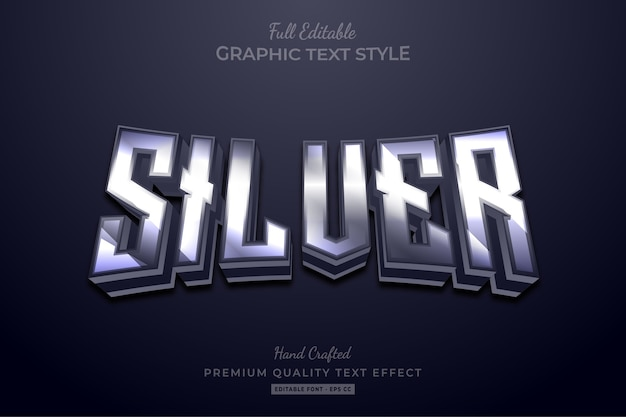 Редактируемый текстовый эффект премиум-класса silver glow