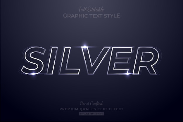 Silver glow editable text effect font style