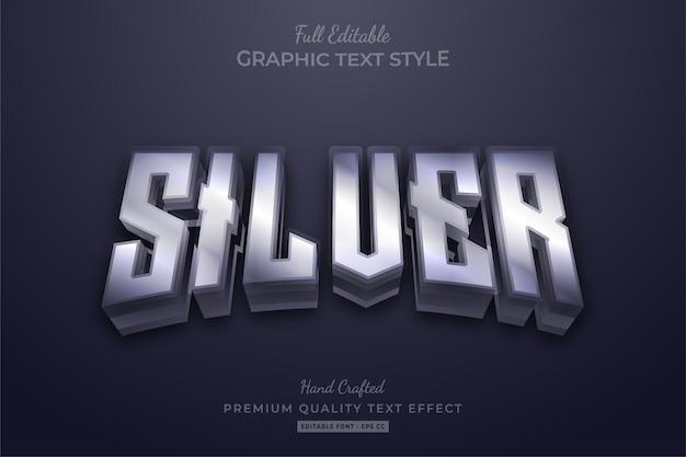 Редактируемый текстовый эффект silver glow