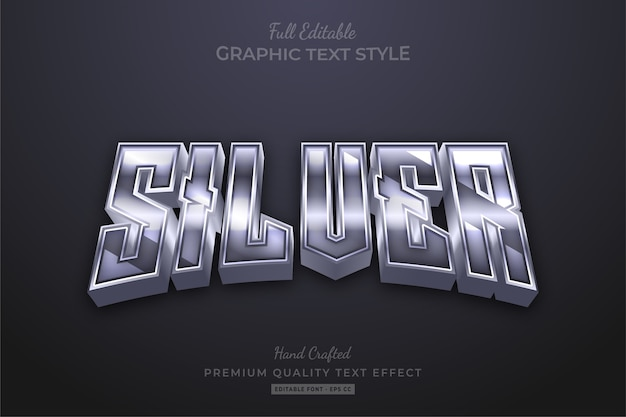 Silver glow editable text effect