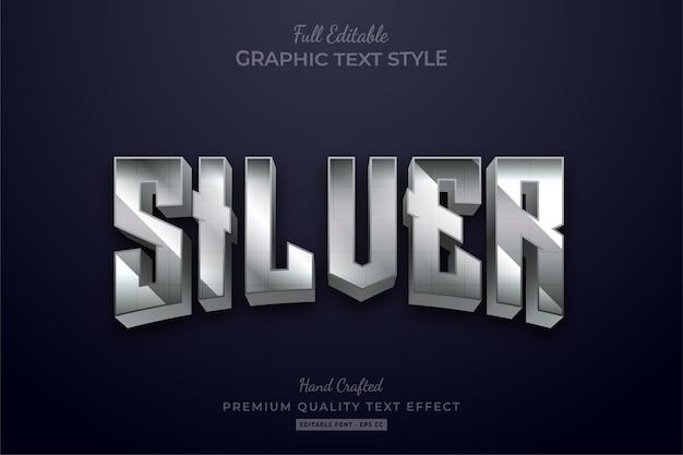 Silver glow editable text style effect premium