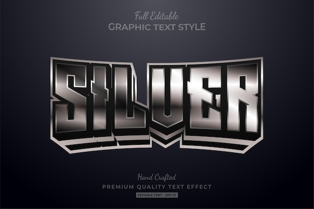 Эффект стиля редактируемого текста silver glow