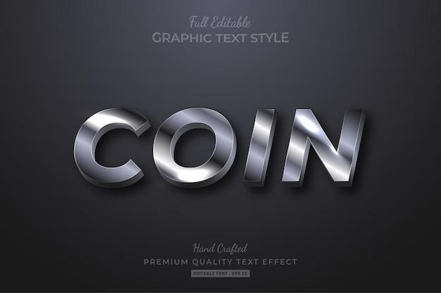 Silver glow premium text effect editable