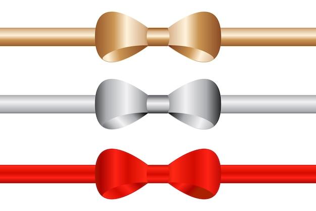 Серебряное золото и красная бантиковая лента на белом