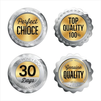 Silver and gold badges. set of four. perfect choice, top quality 100%, 30 days money back, genuine quality. Premium Vector