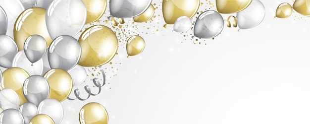Silver and gold balloons background