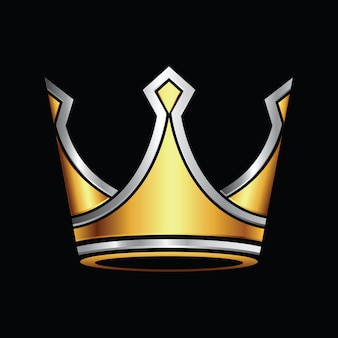 Silver and gold crown logo