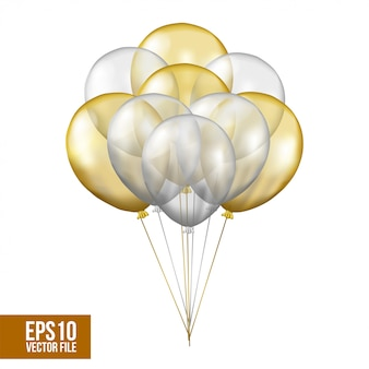 Silver and gold flying transparent helium balloon