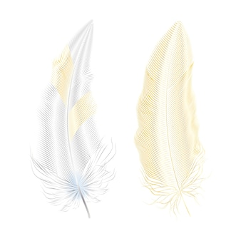 Silver and gold glitter feathers.boho style elements,tattoo template.