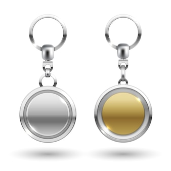 Silver and gold keychains in round shapes